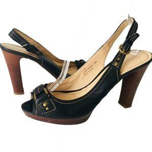 COACH Black Leather Slingback Heels